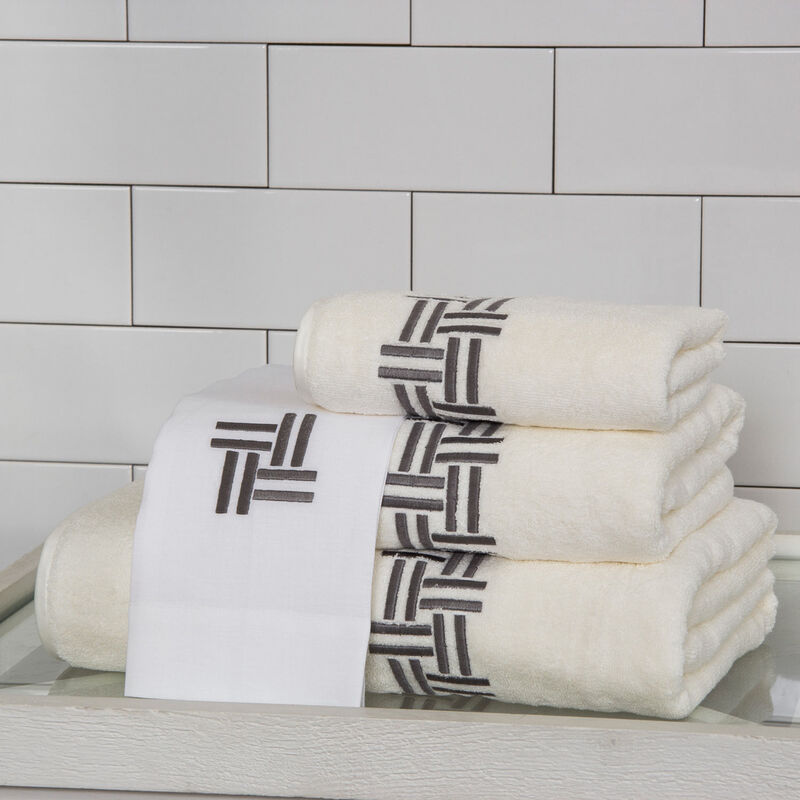 Basket Weave Embroidered Wash Cloth