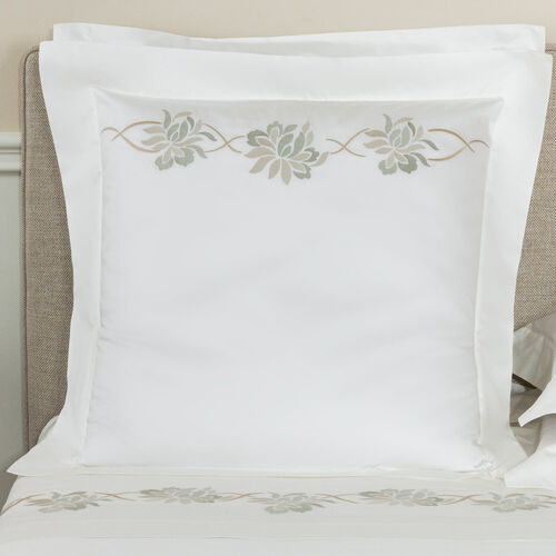 Lotus Flower Embroidered Euro Sham