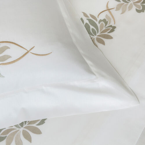 Lotus Flower Embroidered Duvet Cover