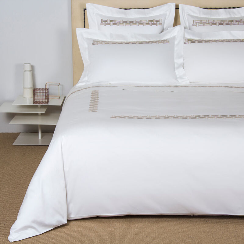 Basket Weave Embroidered Duvet Cover Set