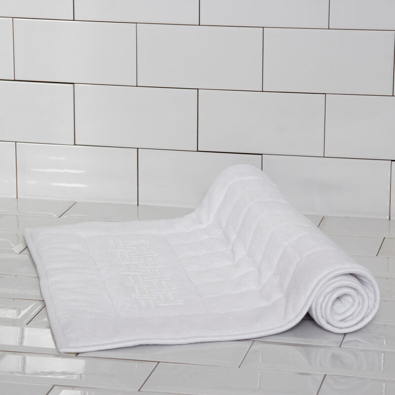 Basket Weave Embroidered Bath Mat