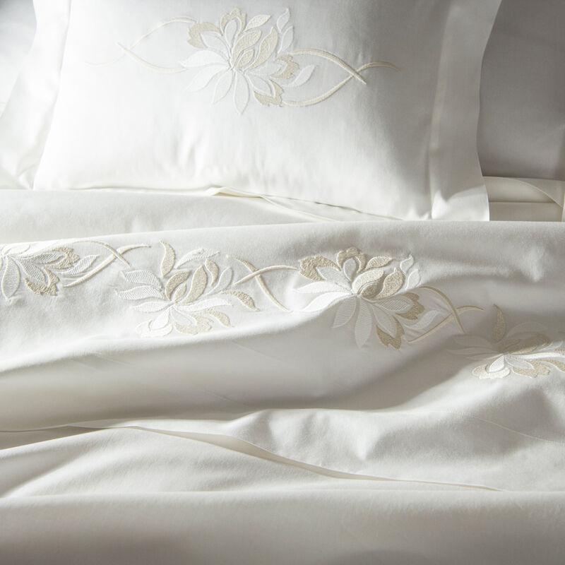 Lotus Flower Embroidered Duvet Cover Set