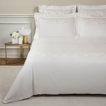 Lotus Flower Embroidered Duvet Cover Set