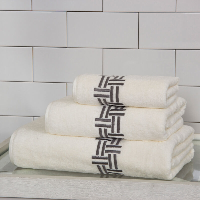 Basket Weave Embroidered Bath Sheet