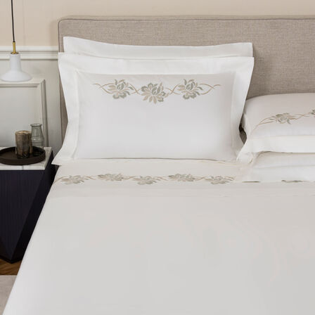 Lotus Flower Embroidered Sheet Set
