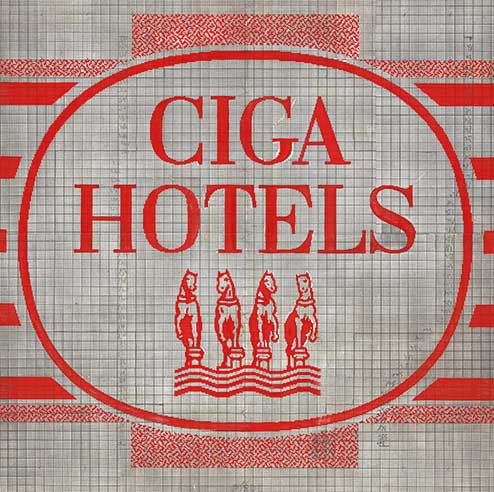CIGA Hotels four horses emblem proof of weave
